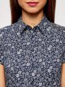 Рубашка хлопковая с коротким рукавом oodji #SECTION_NAME# (синий), 13K01004-1B/14885/7930F - вид 4