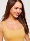 Топ из эластичной ткани на широких бретелях oodji для женщины (желтый), 24315002-1B/45297/5200N - вид 4