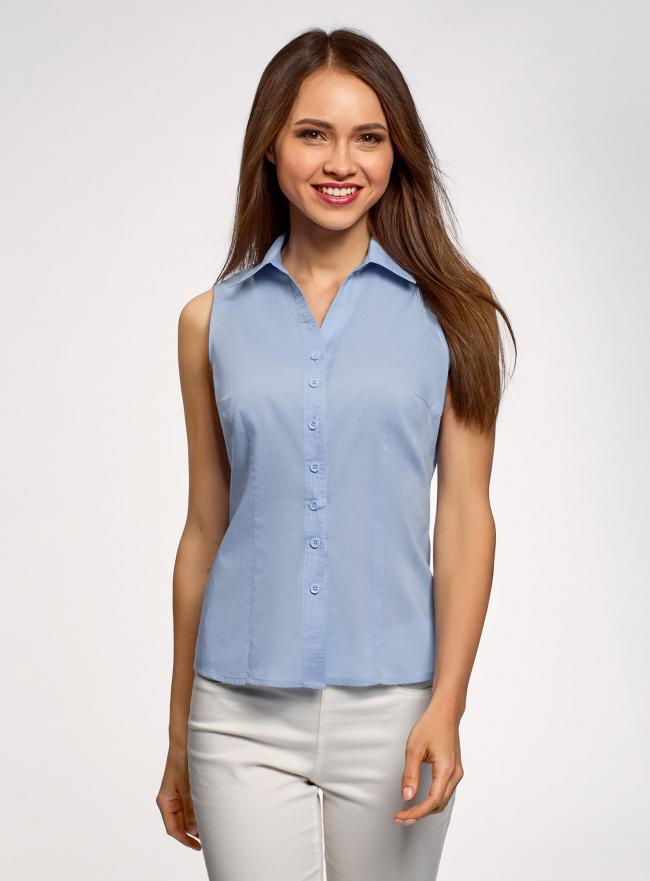 Рубашка базовая без рукавов oodji для женщины (синий), 14905001-1B/12836/7001N