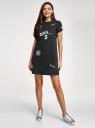Платье трикотажное свободного силуэта oodji #SECTION_NAME# (черный), 14000162-10/46155/2919P - вид 2