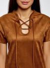 Платье из искусственной замши с завязками oodji #SECTION_NAME# (коричневый), 18L00001/45778/3100N - вид 4