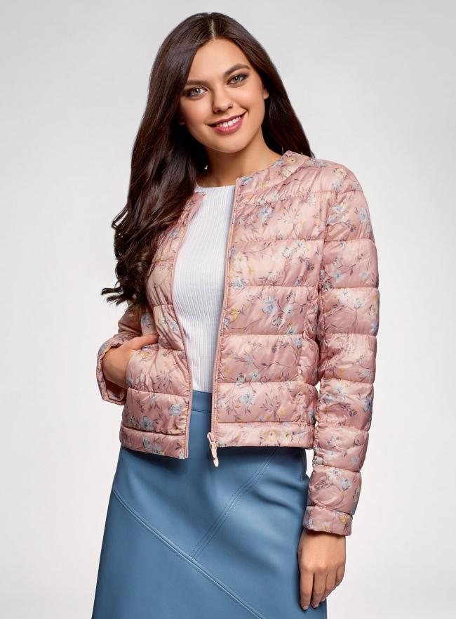 Куртка стеганая с круглым вырезом oodji #SECTION_NAME# (розовый), 10203072B/42257/4B19F
