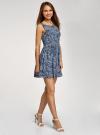 Платье принтованное с бантом на спине oodji для женщины (синий), 11900181/35271/7970F - вид 6
