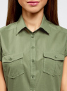 Рубашка базовая с коротким рукавом oodji #SECTION_NAME# (зеленый), 11402084-5B/45510/6200N - вид 4