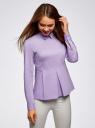 Блузка хлопковая с баской oodji #SECTION_NAME# (фиолетовый), 13K00001-1B/42083/8000N - вид 2