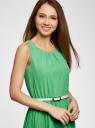Платье без рукавов с асимметричным низом oodji #SECTION_NAME# (зеленый), 21901109-2/17288/6A00N - вид 4