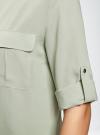 Блузка вискозная с регулировкой длины рукава oodji #SECTION_NAME# (зеленый), 11403225-3B/26346/6000N - вид 5