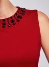 Платье трикотажное с декором из камней oodji #SECTION_NAME# (красный), 24005134/38261/4500N - вид 5