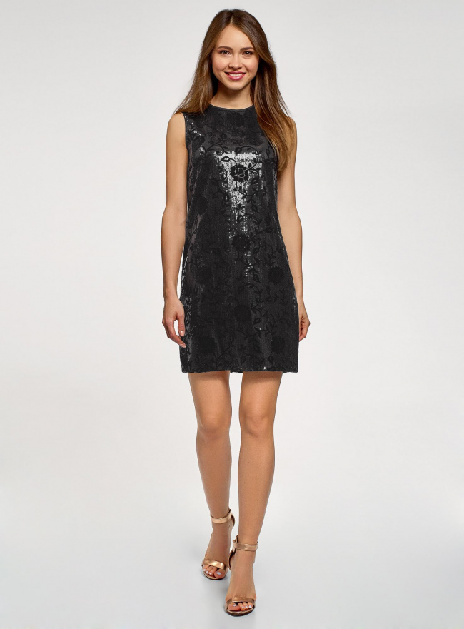 Платье с пайетками и принтом из флока oodji для женщины (черный), 24005135/46121/2929F