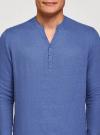 Рубашка льняная без воротника oodji #SECTION_NAME# (синий), 3B320002M/21155N/7500N - вид 4