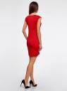 Платье трикотажное с круглым вырезом oodji #SECTION_NAME# (красный), 14008014-6B/46943/4500N - вид 3