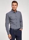 Рубашка slim с двойным воротником oodji #SECTION_NAME# (синий), 3L110223M/19370N/1079G - вид 2