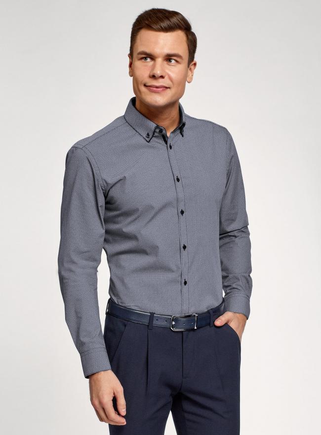 Рубашка slim с двойным воротником oodji #SECTION_NAME# (синий), 3L110223M/19370N/1079G