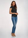 Рубашка с воротником-стойкой и коротким рукавом реглан oodji #SECTION_NAME# (черный), 13K03006B/26357/2900N - вид 6