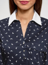 Блузка хлопковая с нагрудным карманом oodji #SECTION_NAME# (синий), 13K03017/26357/7910O - вид 4