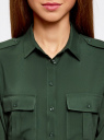 Блузка базовая из вискозы с нагрудными карманами oodji #SECTION_NAME# (зеленый), 11411127B/26346/6900N - вид 4