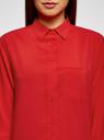 Блузка прямого силуэта с нагрудным карманом oodji #SECTION_NAME# (красный), 11411134-1B/48853/4500N - вид 4