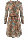 Платье принтованное из шифона oodji для женщины (бежевый), 21912001/38375/7333E