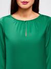 Блузка свободного кроя с вырезом-капелькой oodji #SECTION_NAME# (зеленый), 21400321-2/33116/6E00N - вид 4