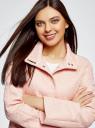 Пальто прямого силуэта из фактурной ткани oodji #SECTION_NAME# (розовый), 10104043/43312/5400N - вид 4