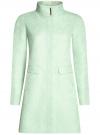 Пальто прямого силуэта из фактурной ткани oodji #SECTION_NAME# (бирюзовый), 10104043/43312/6500N
