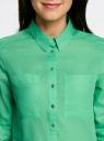 Рубашка хлопковая свободного силуэта oodji #SECTION_NAME# (зеленый), 11411101B/45561/6500N - вид 4