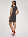 Платье принтованное с контрастным воротником oodji #SECTION_NAME# (черный), 11910077-3/37888/2945F - вид 3