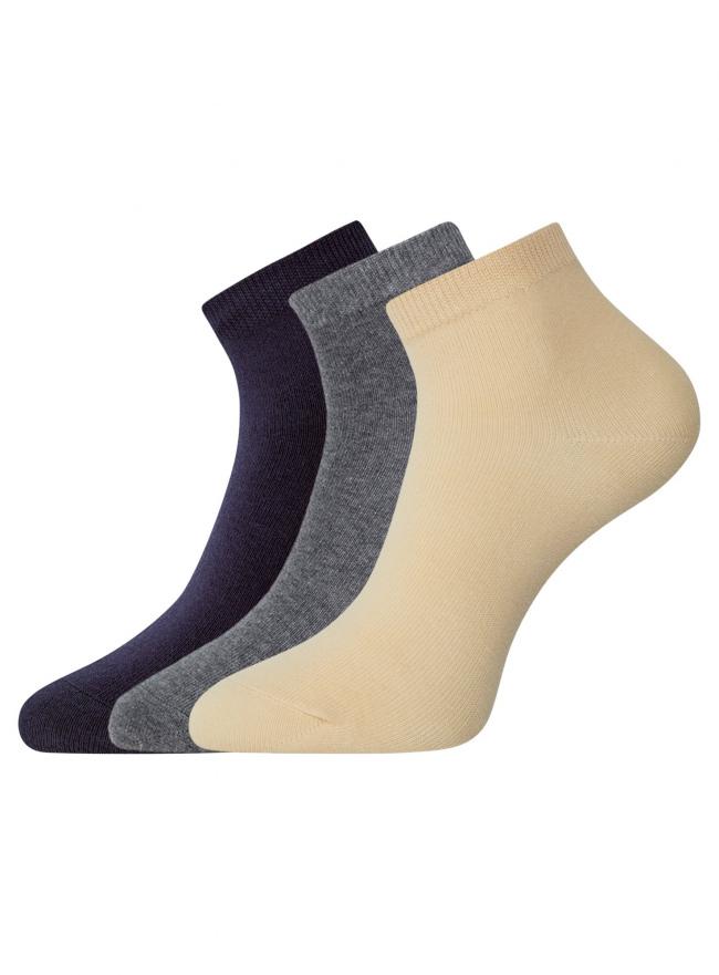 Комплект из трех пар укороченных носков oodji для женщины (разноцветный), 57102418T3/47469/19CXN