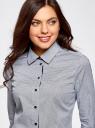 Рубашка приталенная с контрастной отделкой oodji для женщины (синий), 13K01002-1/26357/7910G