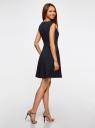 Платье из плотной ткани с овальным вырезом oodji #SECTION_NAME# (синий), 11907004-2/31291/2900N - вид 3