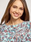 Платье из шифона с ремнем oodji для женщины (бирюзовый), 11900150-5B/32823/7037F - вид 4