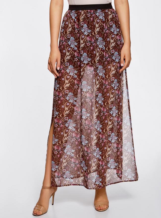 Юбка макси из струящейся ткани oodji для женщины (коричневый), 13G00002-1B/19538/3774F
