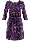 Платье вискозное с рукавом 3/4 oodji #SECTION_NAME# (синий), 11901153-1B/42540/7945E
