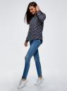 Блузка вискозная А-образного силуэта oodji #SECTION_NAME# (синий), 21411113B/42540/7912F - вид 6