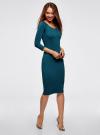Платье облегающее с вырезом-лодочкой oodji #SECTION_NAME# (зеленый), 14017001-5B/46944/6C00N - вид 6