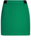 Юбка короткая с отделкой из искусственной кожи oodji #SECTION_NAME# (зеленый), 11601179-10/46415/6E00N