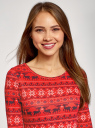Платье трикотажное с вырезом-капелькой на спине oodji #SECTION_NAME# (красный), 24001070-5/15640/4575E - вид 4