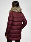 Куртка удлиненная с искусственным мехом на воротнике oodji для женщины (красный), 10203059-1/32754/4905N - вид 3