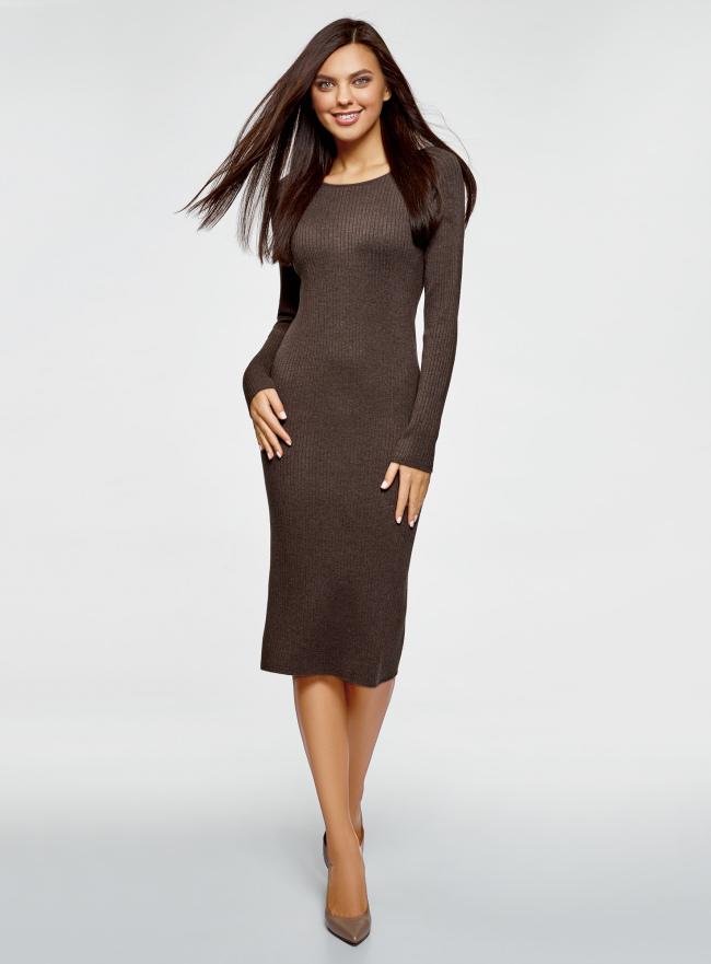 Платье вязаное в рубчик oodji для женщины (коричневый), 73912207-2B/45647/3900M