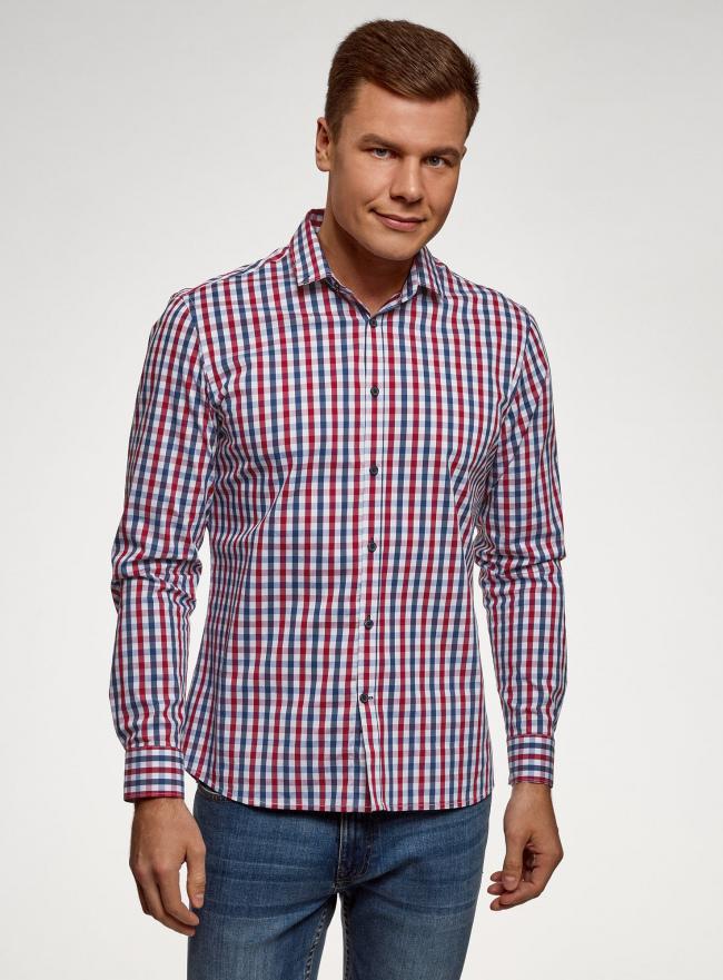 Рубашка в клетку с длинным рукавом oodji #SECTION_NAME# (разноцветный), 3B110028M/39767N/7945C
