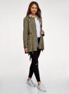 Куртка удлиненная на кулиске oodji для женщины (зеленый), 11D03006/24058/6601N - вид 6