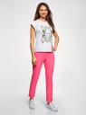 Брюки-чиносы с ремнем oodji для женщины (розовый), 11706190-5B/32887/4D00N