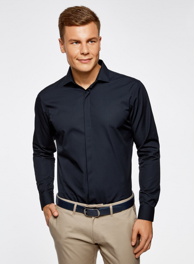 Рубашка базовая из фактурной ткани oodji #SECTION_NAME# (синий), 3B110017M/47184N/7900N