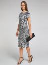 Платье трикотажное с графическим принтом oodji для женщины (синий), 14018001/45396/7912G