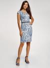 Платье трикотажное с ремнем oodji #SECTION_NAME# (синий), 24008033-2/16300/1075E - вид 6