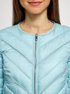 Куртка стеганая с круглым вырезом oodji для женщины (бирюзовый), 10203079/49439/7300B - вид 4