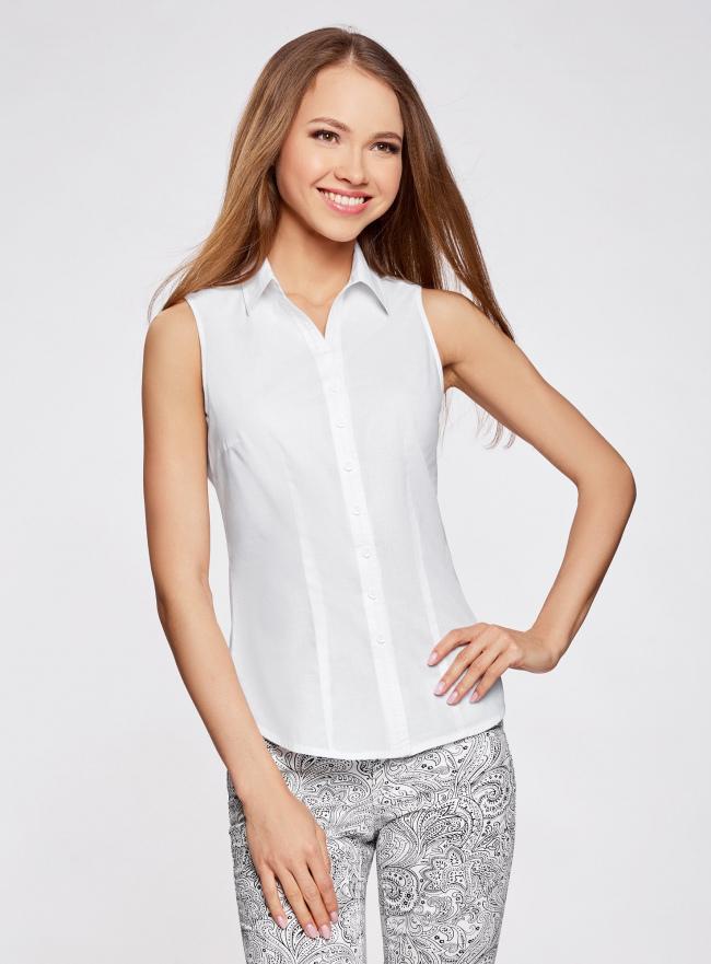 Рубашка базовая без рукавов oodji для женщины (белый), 11405063-6/45510/1000N