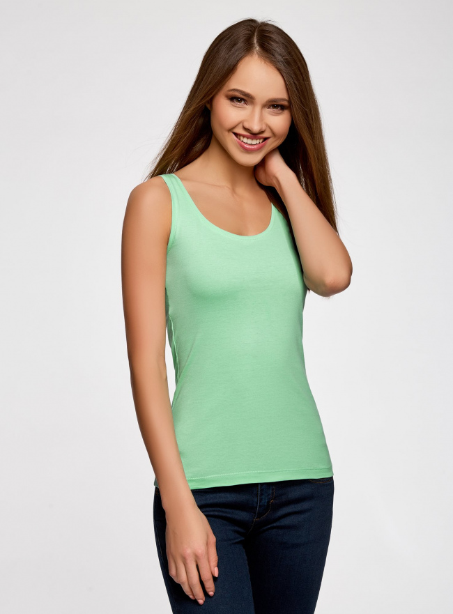 Майка базовая oodji для женщины (зеленый), 14315002B/46154/6500N