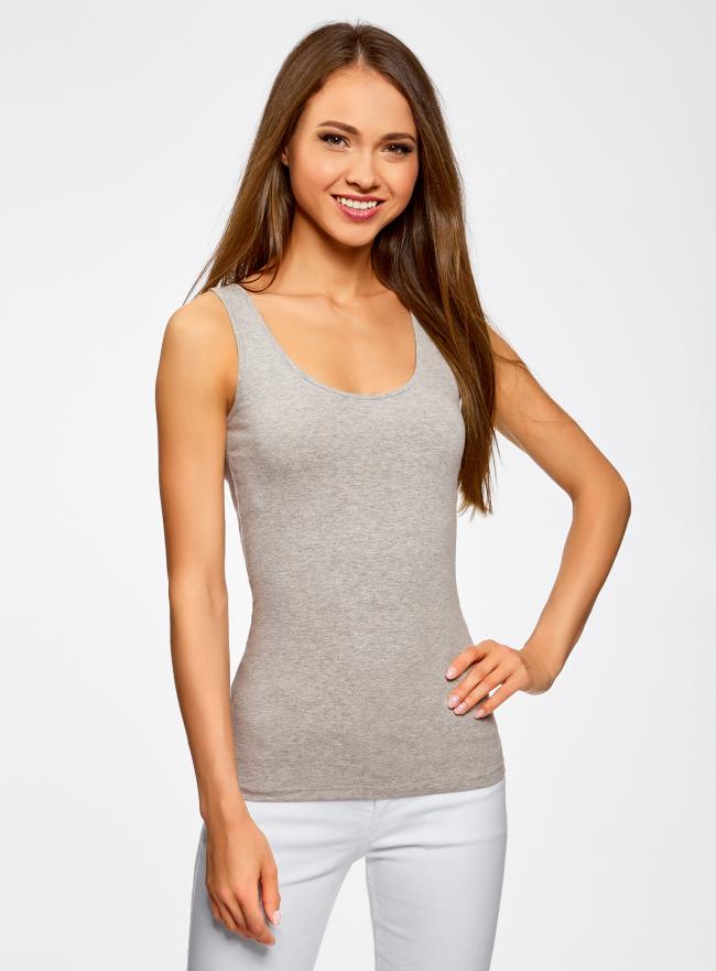 Майка базовая oodji для женщины (серый), 24315001B/46147/2300M