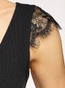 Майка вискозная с отделкой кружевом oodji для женщины (черный), 14315009/50000/2900N